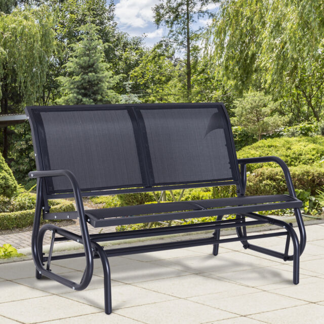 Outsunny Patio Double 2 Person Glider Bench Rocker Porch Love Seat Swing  Chair Throughout 2 Person Antique Black Iron Outdoor Gliders (#13 of 20)