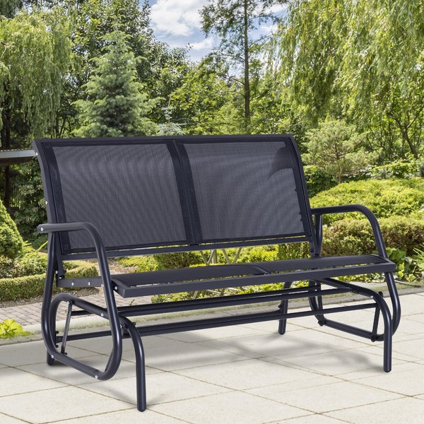 Outsunny Patio Double Glider Bench Swing Chair Heavy Duty For Iron Double Patio Glider Benches (View 13 of 20)