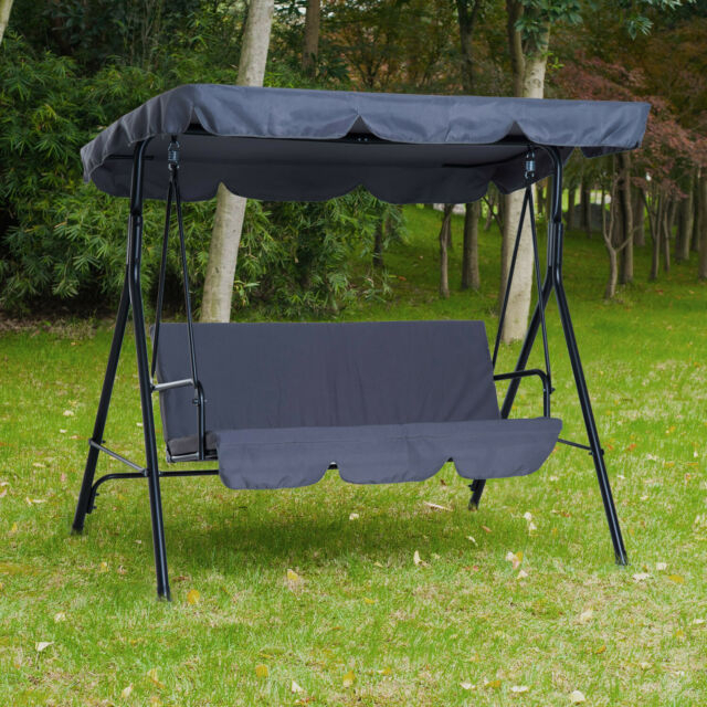 Outsunny Steel Garden Porch Swing Bench Chair 3 Person With Top Canopy – Grey Intended For 3 Person Red With Brown Powder Coated Frame Steel Outdoor Swings (View 8 of 20)