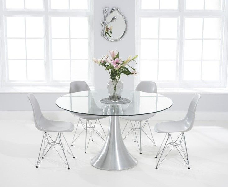 Paloma 135Cm Round Glass Dining Table With Charles Eames Throughout Most Up To Date Eames Style Dining Tables With Chromed Leg And Tempered Glass Top (#15 of 20)