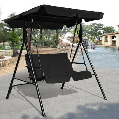 Patio Canopy Swing Glider W/ Loveseat Hammock Durable Steel Frame Outdoor Black | Ebay With Regard To Black Outdoor Durable Steel Frame Patio Swing Glider Bench Chairs (View 3 of 20)