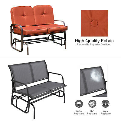 Patio Double 2 Person Glider Bench Rocker Porch Outdoor Love Seat Swing  Chair   Ebay Throughout Double Glider Benches With Cushion (#16 of 20)