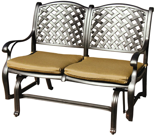 Patio Furniture Glider Cast Aluminum Loveseat Nassau For Aluminum Glider Benches With Cushion (View 8 of 20)