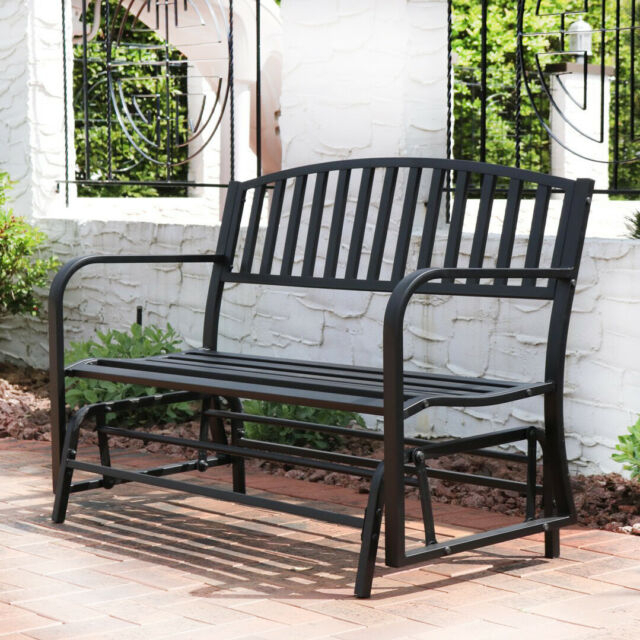Patio Garden Glider Bench Double 2 Person Swing Chair Steel Deck Yard Rocker Intended For 2 Person Loveseat Chair Patio Porch Swings With Rocker (View 19 of 20)
