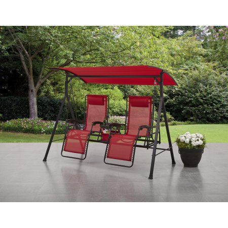 Patio & Garden | Porch Swing, Metal Patio Furniture, Outdoor Inside 3 Person Red With Brown Powder Coated Frame Steel Outdoor Swings (View 15 of 20)