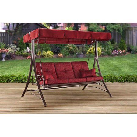 Patio & Garden | Porch Swing With Canopy, Porch Swing, Porch Within 3 Person Red With Brown Powder Coated Frame Steel Outdoor Swings (View 7 of 20)