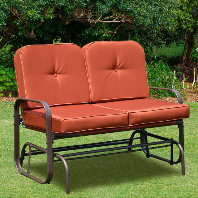 Patio Glider Bench Chair 2 Person Rocker Loveseat Outdoor Furniture W/  Cushions Regarding Double Glider Benches With Cushion (#19 of 20)
