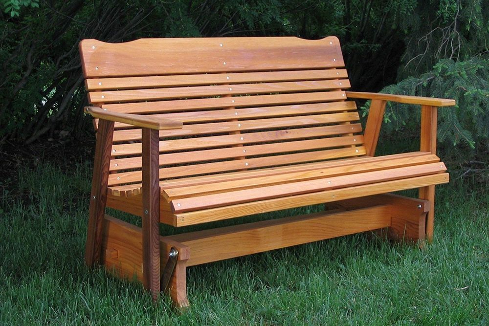 Patio Glider Bench Loveseat Red Cedar Contour Seat Outdoor Pertaining To 2 Person Natural Cedar Wood Outdoor Gliders (#16 of 20)