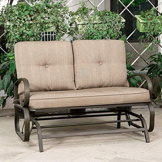 Patio Glider Bench Outdoor Cushioned 2 Person Swing Loveseat Within 2 Person Black Wood Outdoor Swings (View 3 of 20)