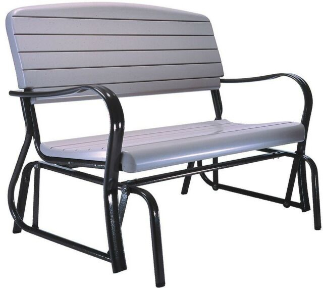 Popular Photo of Black Outdoor Durable Steel Frame Patio Swing Glider Bench Chairs