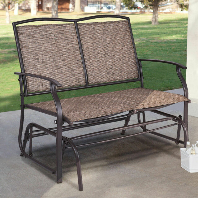 Patio Glider Rocking Bench Double 2 Person Chair Loveseat Armchair Backyard  New Within Double Glider Loveseats (#19 of 20)