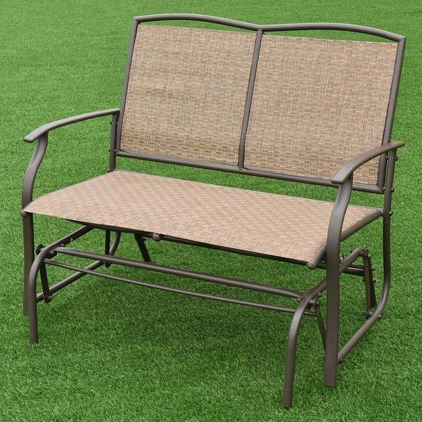 Patio Glider Rocking Bench Double 2 Person Chair Loveseat With Regard To Iron Double Patio Glider Benches (View 19 of 20)