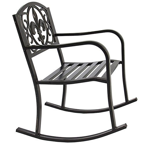 Patio Rocking Chair Durable Wrought Iron Construction Porch In Black Outdoor Durable Steel Frame Patio Swing Glider Bench Chairs (View 19 of 20)
