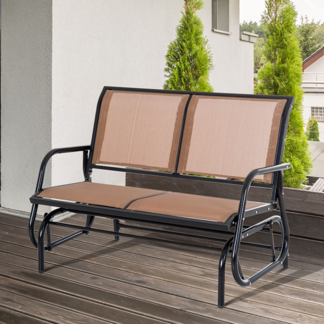 Patio Seating Tan Furniture Patio Glider Clearance Outdoor In Outdoor Steel Patio Swing Glider Benches (View 20 of 20)