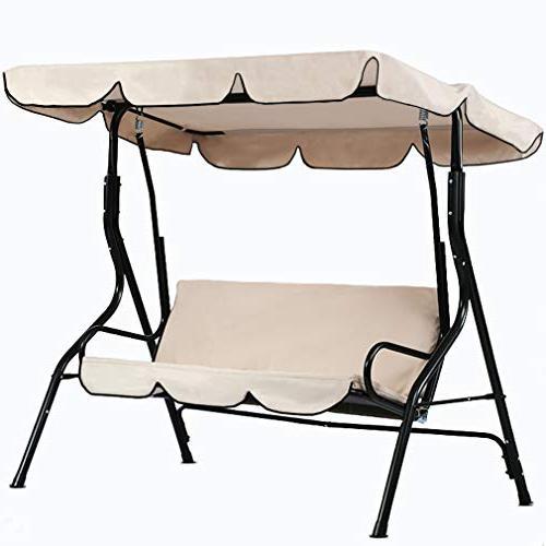 Patio Swing 3 Person Canopy Glider Hammock Chair Within Patio Glider Hammock Porch Swings (#14 of 20)