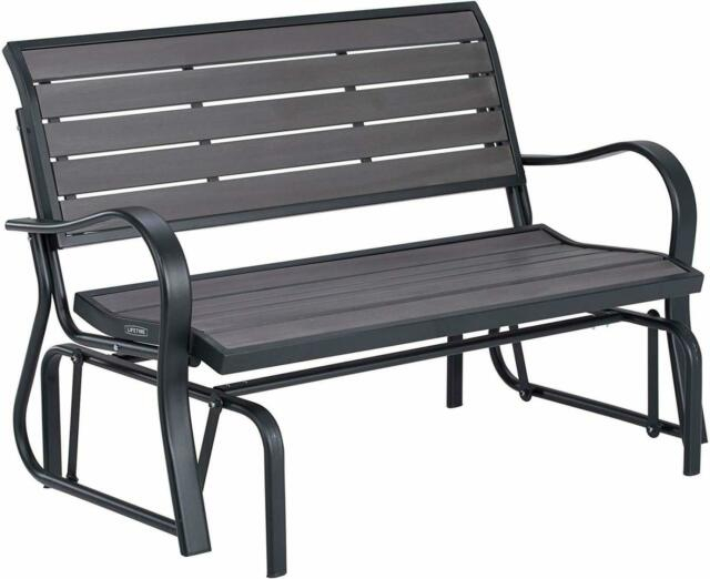 Patio Swing Loveseat Chair 2 People Seats Outdoor Glider Steel Frame Grey Bench With 2 Person Black Wood Outdoor Swings (View 12 of 20)