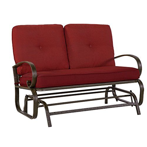Pinkim Watts On Backyard | Outdoor Loveseat, Patio Pertaining To Cushioned Glider Benches With Cushions (View 13 of 20)