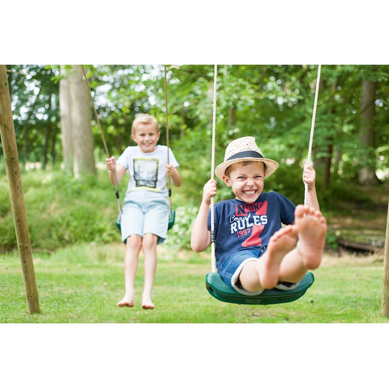 Plum 2 Swing Glider Wooden Double Kids Swing Set Regarding Dual Rider Glider Swings With Soft Touch Rope (#10 of 20)