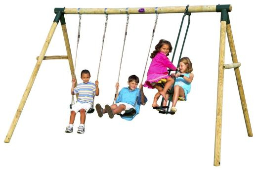Plum Colobus® Wooden Pole Swing Set With Dual Rider Glider Swings With Soft Touch Rope (#12 of 20)