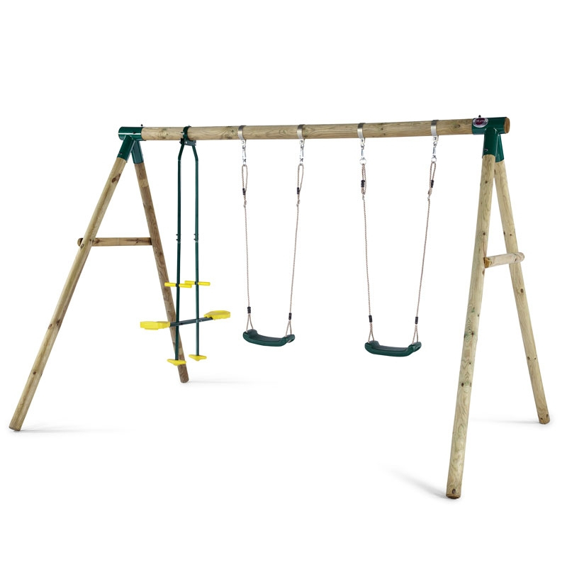 Plum Colobus Wooden Swing Set Inside Dual Rider Glider Swings With Soft Touch Rope (#11 of 20)
