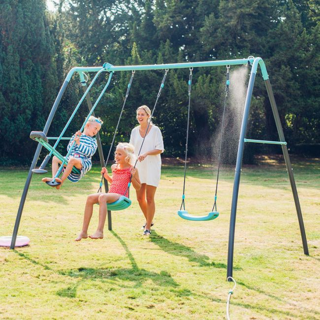 Plum Metal Double Swing & Glider With Mist Feature Playset Inside Dual Rider Glider Swings With Soft Touch Rope (#13 of 20)