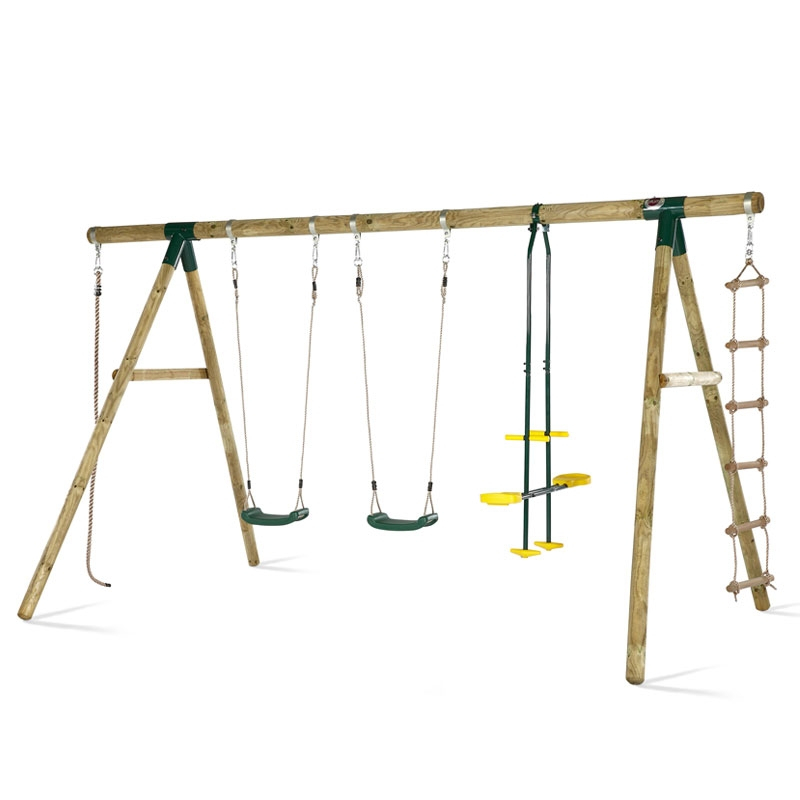 Plum Orang Utan Wooden Swing Set Throughout Dual Rider Glider Swings With Soft Touch Rope (#16 of 20)