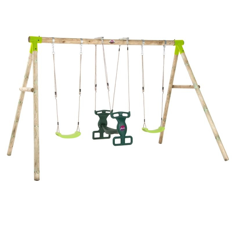 Plum Vervet Wooden Swing Set Inside Dual Rider Glider Swings With Soft Touch Rope (#17 of 20)