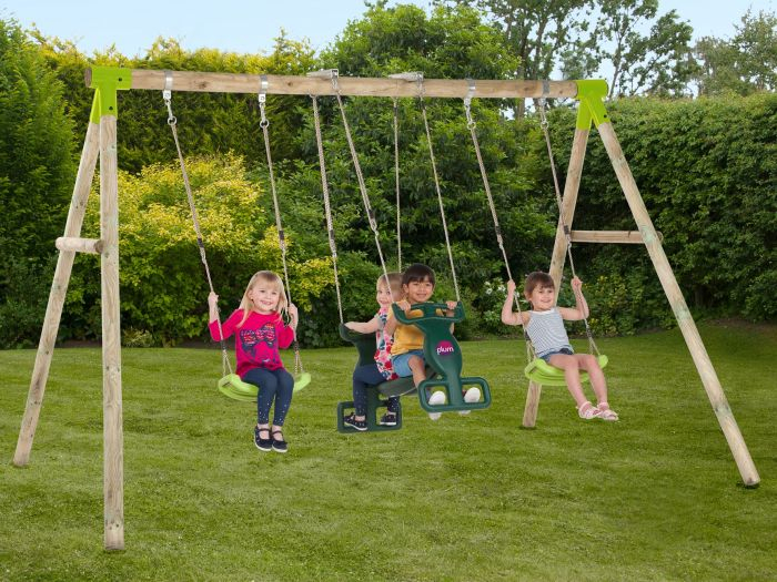 Plum® Vervet® Wooden Swing Set Within Dual Rider Glider Swings With Soft Touch Rope (#18 of 20)