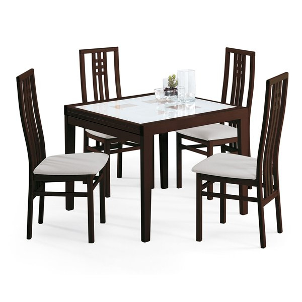 Poker/scala Square Dining Set Wenge Toulouse Sand Four Intended For Widely Used Dom Square Dining Tables (View 13 of 20)