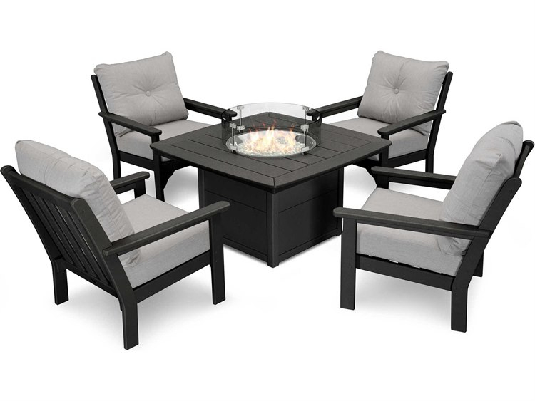 Polywood® Vineyard Recycled Plastic 5 Piece Firepit Lounge Set Pertaining To Vineyard 2 Person Black Recycled Plastic Outdoor Swings (View 15 of 20)