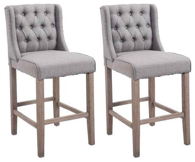 "Popular 40"" Tufted Counter Height Bar Stools, Set Of 2, Gray Inside Transitional 8 Seating Rectangular Helsinki Dining Tables (#10 of 21)"