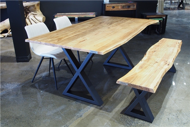 Popular Acacia Dining Tables With Black X Leg Within Corcoran Importation Zen Live Edge 67 Inches Dining Table (View 18 of 20)