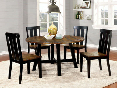 Popular Casual 5 Pc Two Tone Round Dining Table Set Antique Oak & Black Dining Furniture (View 19 of 20)