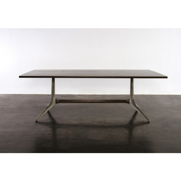 """Popular Dining Tables In Smoked Seared Oak Inside Kahn Smoked Oak Dining Table 110"""" (#16 of 20)"""