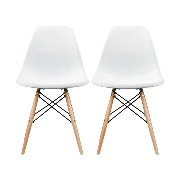 Popular Eames Style Dining Tables With Wooden Legs For Set Of Two (2) White – Eames Style Side Chair Natural (#19 of 20)