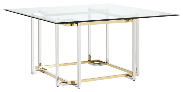 Popular Elin Square Dining Table, Polished Gold And Chrome Mixed Regarding Chrome Contemporary Square Casual Dining Tables (#15 of 20)