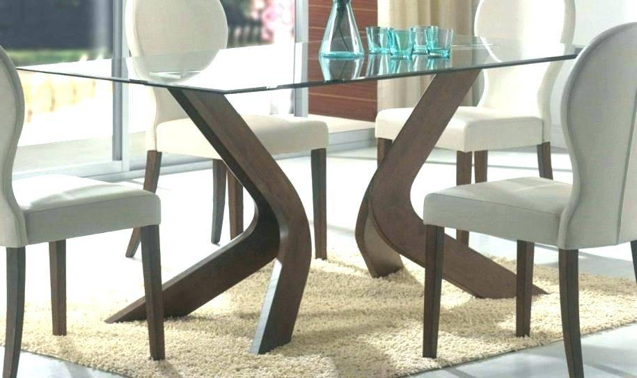 Popular Glass Top Dining Tables Wood Base Table Bases Room For Tops Throughout Rectangular Glasstop Dining Tables (#11 of 20)