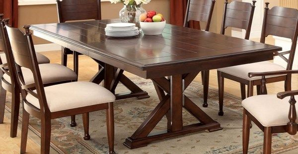 Popular Small Dining Tables With Rustic Pine Ash Brown Finish With Descanso Transitional Brown Cherry Solid Wood Dining Table (View 10 of 20)