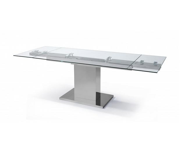 Popular Steel And Glass Rectangle Dining Tables Intended For Liv Stainless Steel & Glass Extendable Modern Rectangular Dining Table (View 2 of 20)