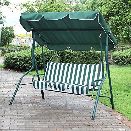 Porch Bench Swing With Canopy Awning Outdoor Chair For Two In Outdoor Pvc Coated Polyester Porch Swings With Stand (View 13 of 20)