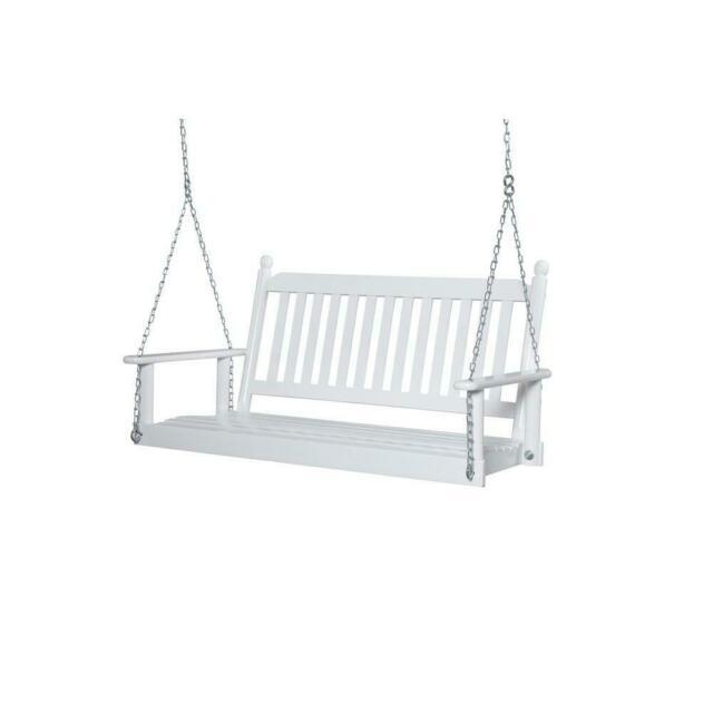 Porch Swing 2 3 Person Weather Resistant Slatted Back Contoured Seat White For Contoured Classic Porch Swings (View 15 of 20)