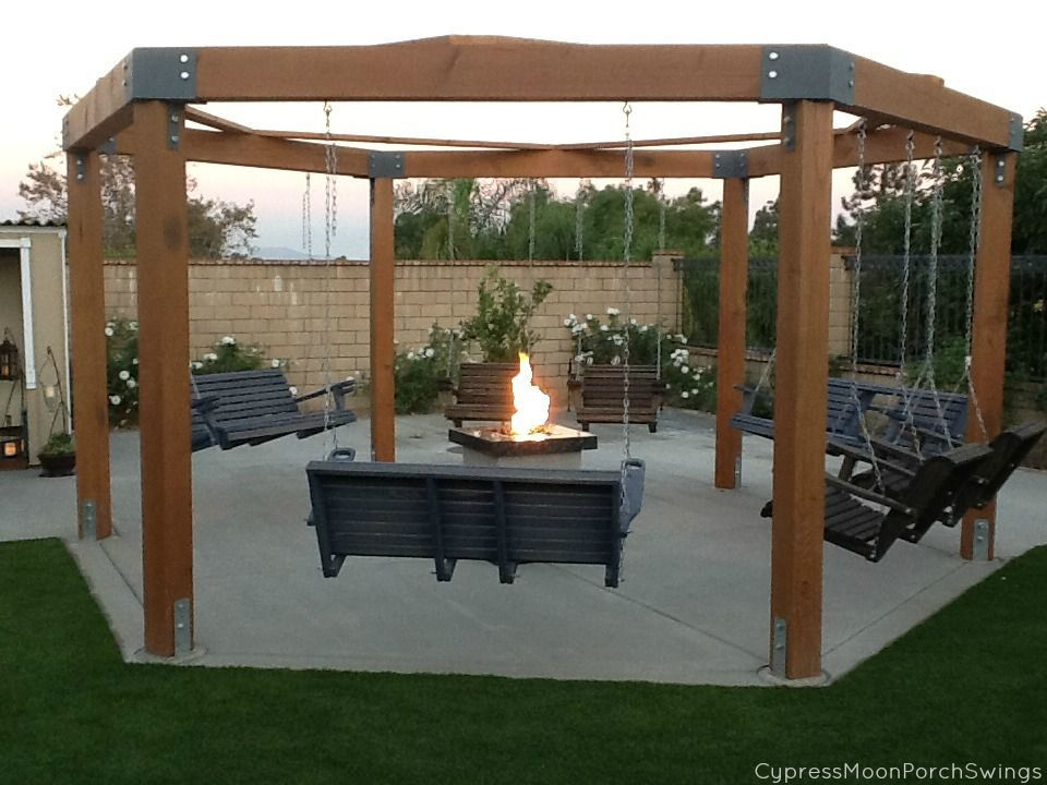 Porch Swing Fire Pit | Gazebo With Fire Pit, Fire Pit In Patio Gazebo Porch Swings (View 7 of 20)