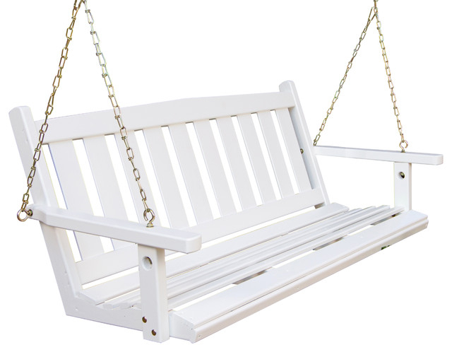 Porchgate Amish Made Mission White Porch Swing, 4' In Contoured Classic Porch Swings (View 20 of 20)