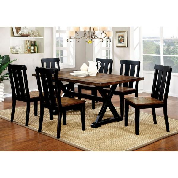 Preferred Alana Antique Oak And Black Transitional Style Rectangular Dining Table With Regard To Transitional Antique Walnut Square Casual Dining Tables (View 12 of 20)
