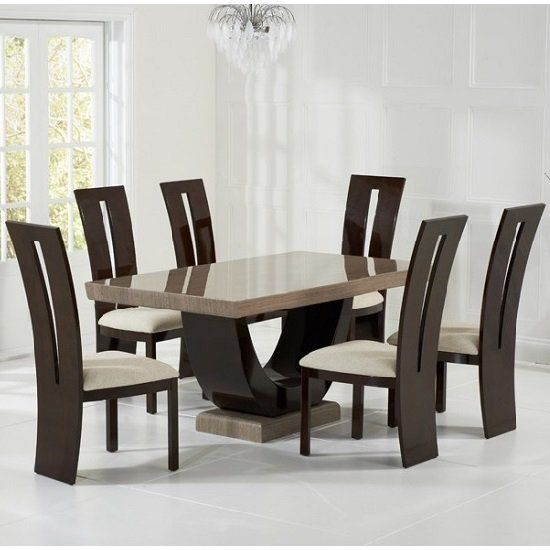 Preferred Allie Marble Dining Set In Brown With 6 Ophelia Cream Chairs Throughout Contemporary 6 Seating Rectangular Dining Tables (#14 of 20)