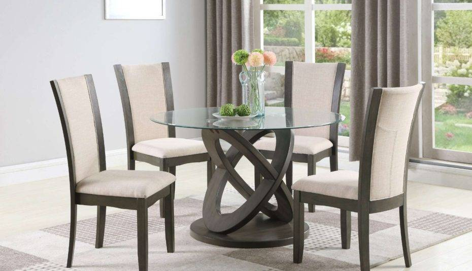 Preferred Amazing Glass Top Dining Table Set Rooms Piece Chairs Gray Inside Retro Round Glasstop Dining Tables (#12 of 20)
