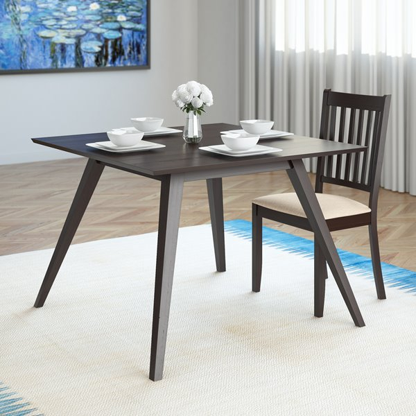 Preferred Atwood Transitional Square Dining Tables Inside Corliving Atwood 42 In X 42 In Cappuccino Stained Square Dining Table (View 7 of 21)