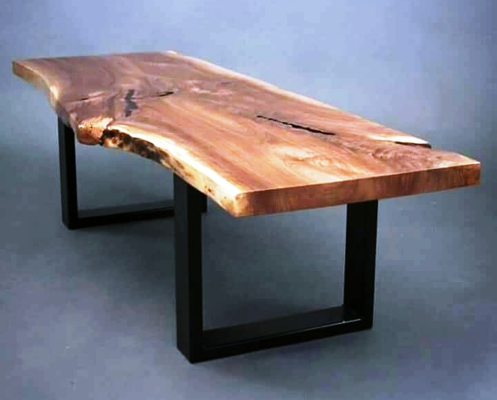 Preferred Iron Wood Dining Tables For Industrial & Vintage Iron Metal & Solid Wood Acacia Live Edge Dining Table  – Buy Metal Leg Dining Wood Table,chunky Wood Dining Table,live Edge Slab (#16 of 20)