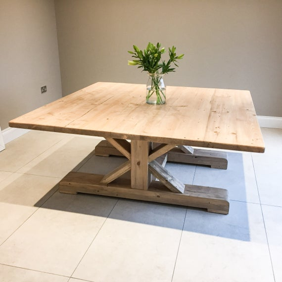 Preferred Large Rustic Look Dining Tables Inside Extra Large 6Ft Square Rustic Dining Table With Trestle Style Cross Leg Base, Handmade From Reclaimed Wood – 12 Seater (View 20 of 20)