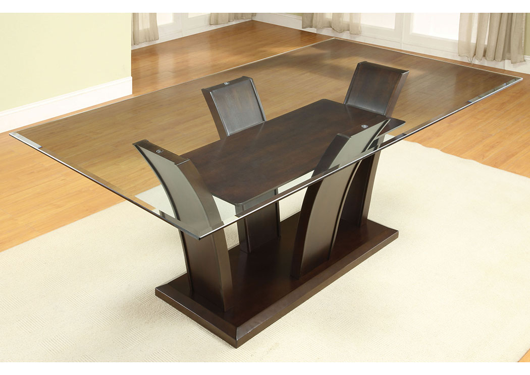 Preferred Rectangular Glass Top Dining Tables Pertaining To Irving Blvd Furniture Manhattan L Rectangle Glass Top Dining (#13 of 20)